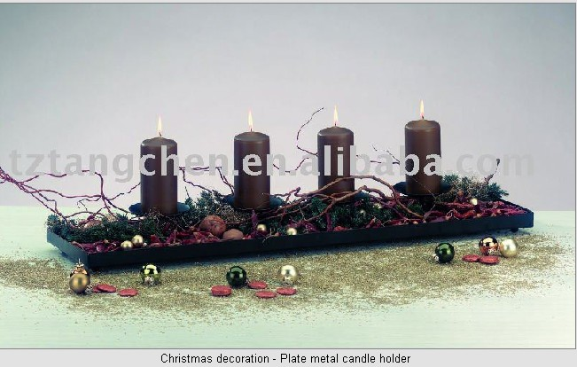 Christmas decoration plate metal candle holder for 7 candle christmas decoration