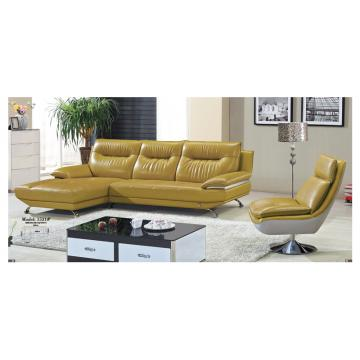 Italy Leather Stainless Feet Sectional Sofa Set Home Furniture