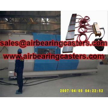 Air casters load moving equipment are powered pneumatically with compressed air