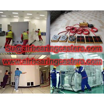 Air caster systems easily moving heavy equipments